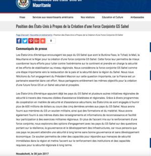 Financement du G5 Sahel : l'ambassade des USA à Nouakchott remet les pendules à l'heure…