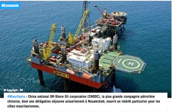Mauritanie: le géant pétrolier chinois CNOOC lorgne l'off-shore
