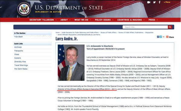 Voici la preuve du mensonge par omission de son excellence Larry André...
