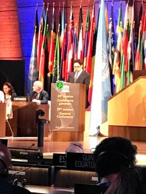 Le ministre de la culture prononce un discours devant la 39ème session de l'Assemblée générale de l'Unesco