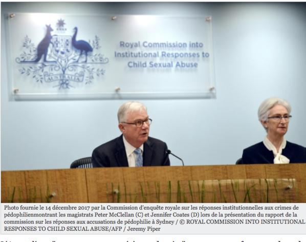 """Pédophilie: L'Australie a """"manqué à ses devoirs"""" (commission d'enquête)"""