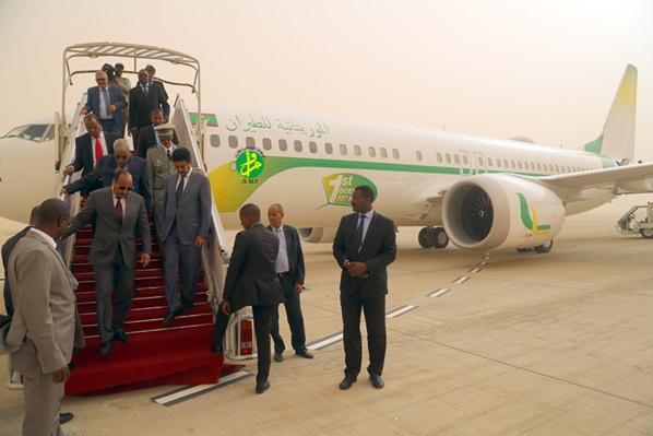 Le Président de la République supervise la réception par la Mauritania Airlines d'un nouvel avion de type Boeing