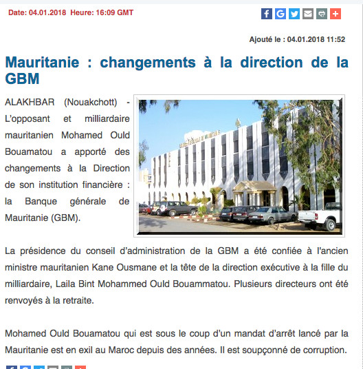Mauritanie : limogeage en série au sein du Groupe Bouamatou