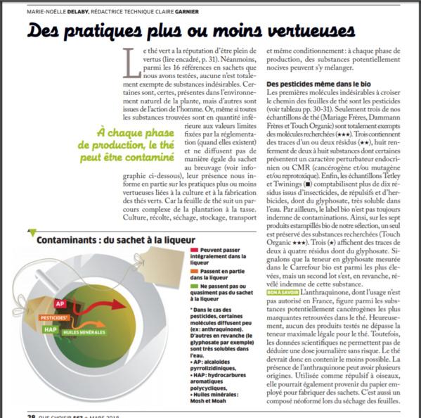 """Voici le fameux article sur le thé et les pesticides de """" Que Choisir ? """""""