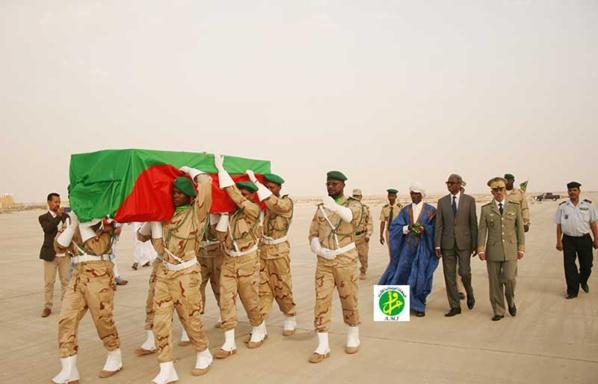 La dépouille du martyr tombé sur le champ d'honneur en Centrafrique arrive à Nouakchott