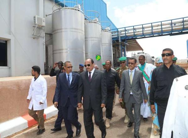 Le Président de la République visite la Société mauritanienne des produits laitiers à Néma