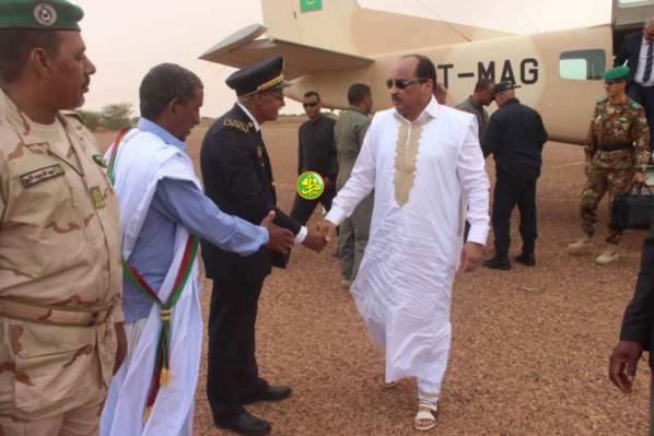 Arrivée du Président de la République à Aioun