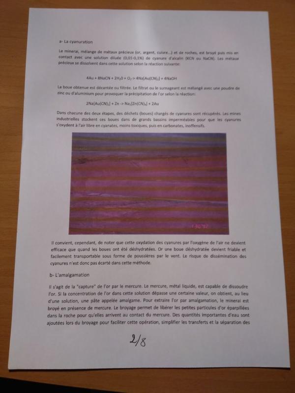 Orpaillage et pollution au Mercure à Chami : note confidentielle