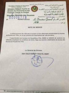 Les dédouanements de véhicules ne sont plus autorisés à Nouadhibou, Rosso et Kouki