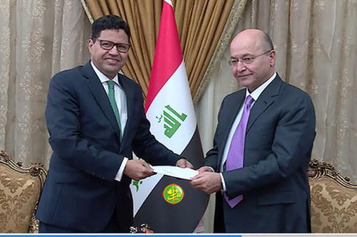 Notre ambassadeur à Bagdad remet un message de félicitations du Président de la République au Président irakien