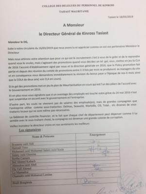 Gel des promotions a Kinross Tasiast : les délégués du personnel répondent au Vice-Président et Directeur Général de TMLSA