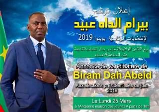 Présidentielle 2019 : L'annonce officielle de la candidature du député Biram Dah Abeid cet après-midi