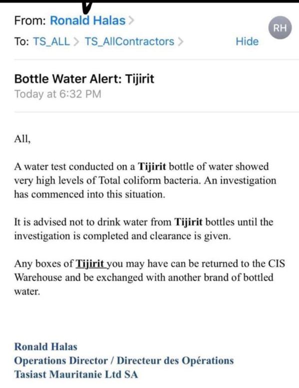 Mauritanie : L'eau minérale en bouteille « tijirit », contaminée par des bactéries coliformes