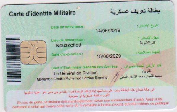 Mauritanie : nouvelle carte d'identité militaire biométrique