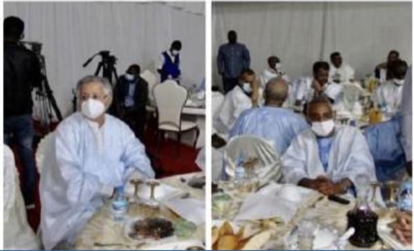 Ould Bouamatou et Ould Chave-I assistant à l'iftar (diner ramadan) organisé par le parti au pouvoir