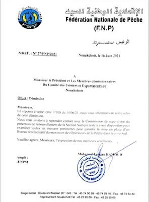 Pêche: La FNP refuse la démission du Comité des usiniers et exportateurs de la zone Sud