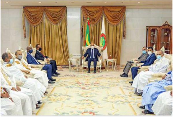 Le Président de la République reçoit le président du Patronat mauritanien en compagnie des importateurs