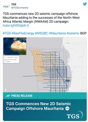 TGS lance une nouvelle campagne sismique 2D au large de la Mauritanie
