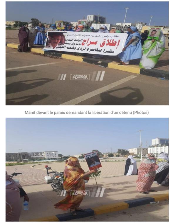 Manifestation devant le palais demandant la libération d'un détenu
