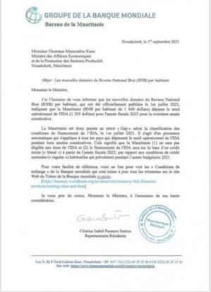 La Banque Mondiale informe la Mauritanie qu'elle ne sera pas éligible aux dons de l'IDA (Fac-simulé)