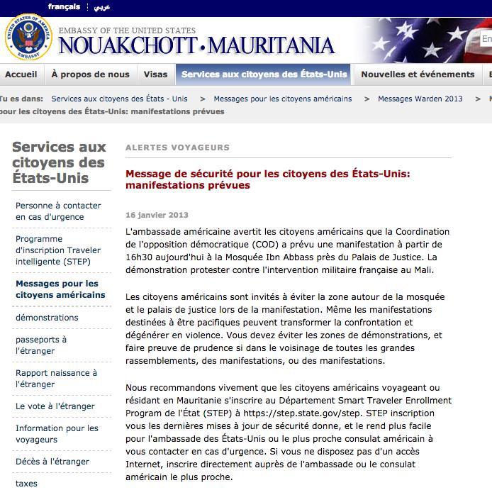 L'ambassade US en français relativise le risque d'attaque terroriste...