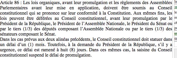 Ultime aberration de notre constitution arrivage : le conseil constitutionnel ne peut rien face à l'article 38...