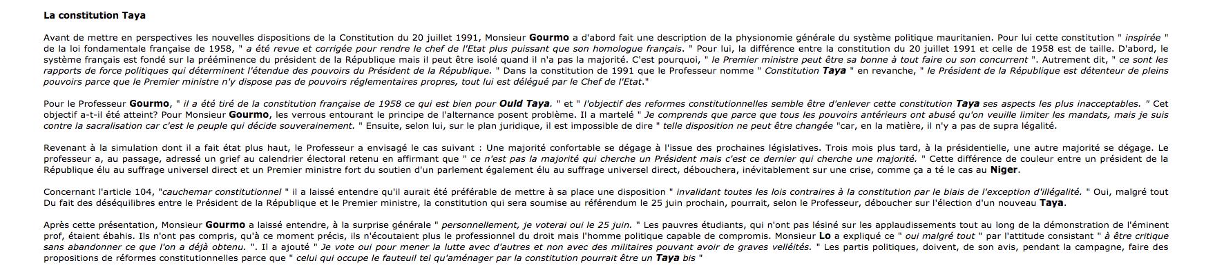 Tenez-vous bien : voilà ce que pensait Lo Gourmo en 2006 du verrou constitutionnel…