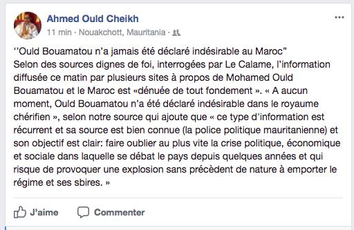 Mauritanie : Rumeur infondée sur l'expulsion du Maroc de l'opposant Ould Bouamatou, selon un haut diplomate marocain