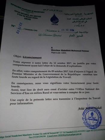 Ould El Haimer licencié pour avoir critiqué le PM