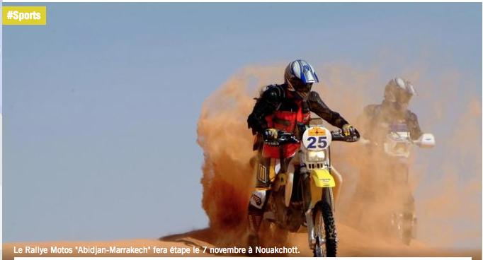"""Mauritanie: étape du Rallye Motos """"Abidjan-Marrakech"""" le 7 novembre"""