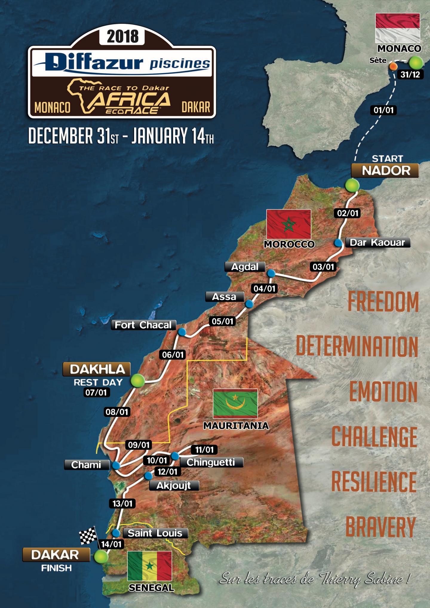 Parcours L'Africa Eco Race 2018 : première spéciale mauritanienne 100% nouvelle