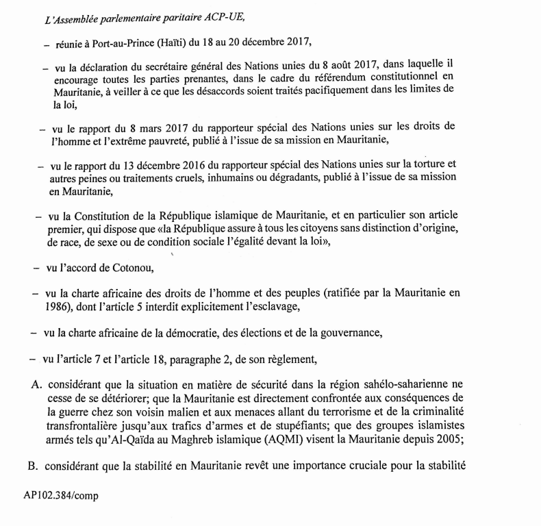 ACP - UE : proposition de résolution d'urgence sur la situation en Mauritanie ( version 20 décembre 2017 )