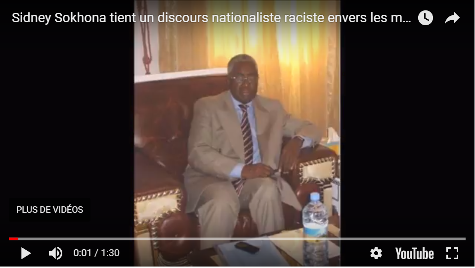 Sidney Sokhona tient un discours nationaliste raciste envers les maures dans le Guidumakha.