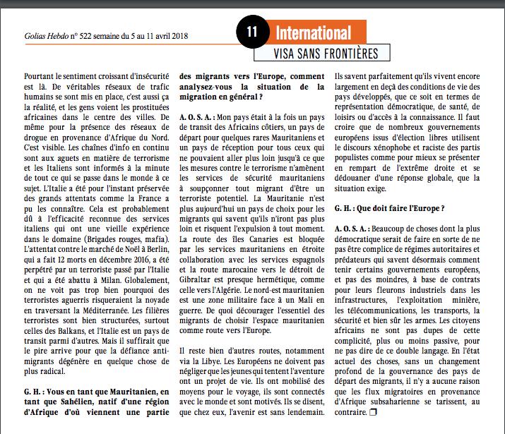 """""""  La crise migratoire italienne : un autre regard """" : Interview d'Ahmed Ould Soueid Ahmed pour la revue Golias"""