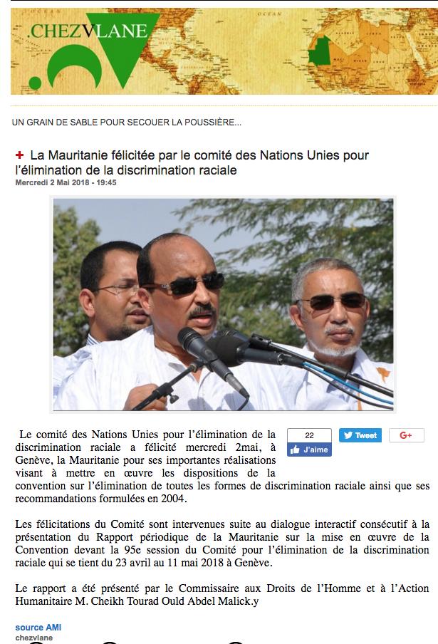 Mensonge : la Mauritanie n'a jamais été félicitée par le Comité pour l'élimination de la discrimination raciale à Genève…