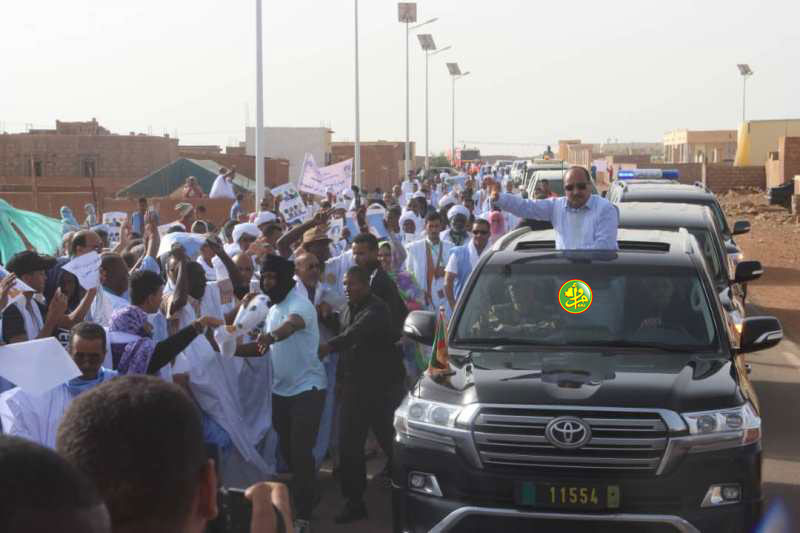 Le président de la République arrive à Akjoujt au début d'une visite dans la wilaya de l'Inchiri