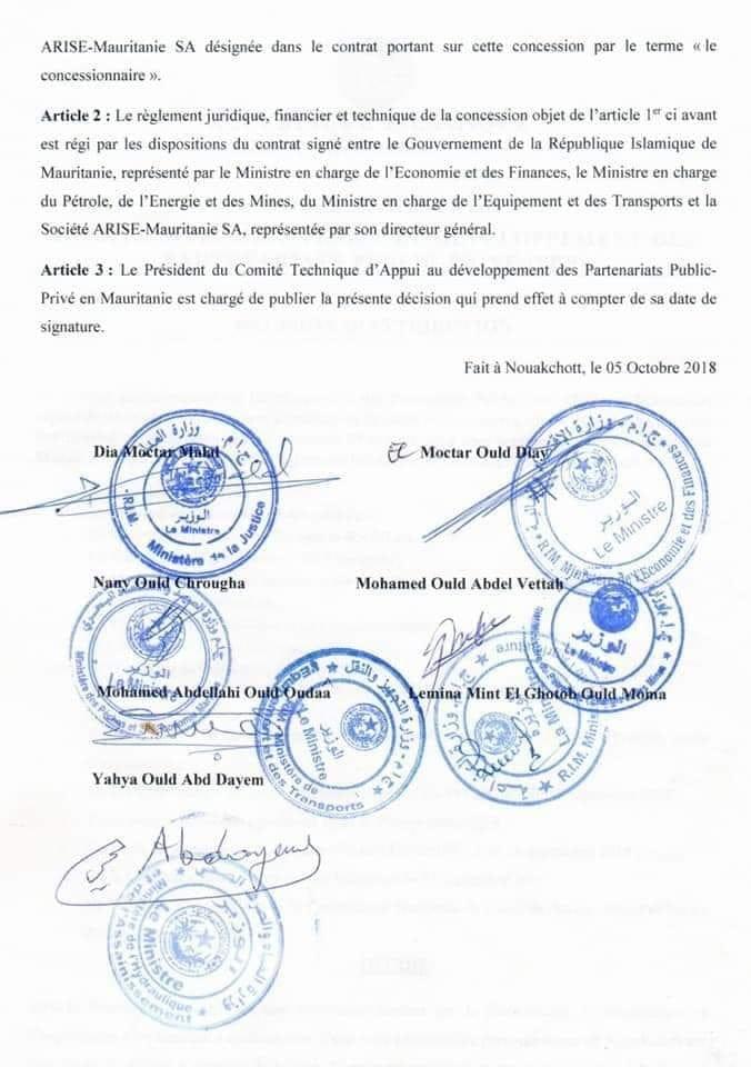 Polémique à propos d'un contrat signé par 7 ministres mauritaniens