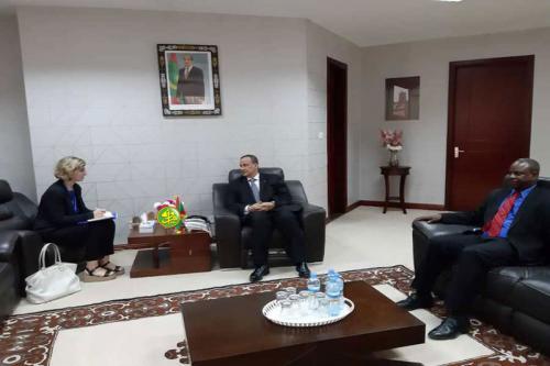 Le ministre des affaires étrangères reçoit la cheffe de la mission de l'organisation Internationale de la Migration (OIM) en Mauritanie