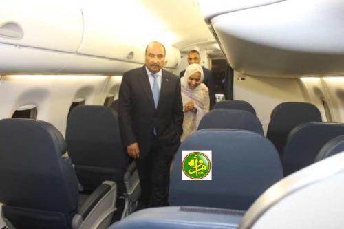 Le Président de la République donne le coup d'envoi pour l'intégration d'un nouvel avion dans la flotte de la société Mauritania Airlines