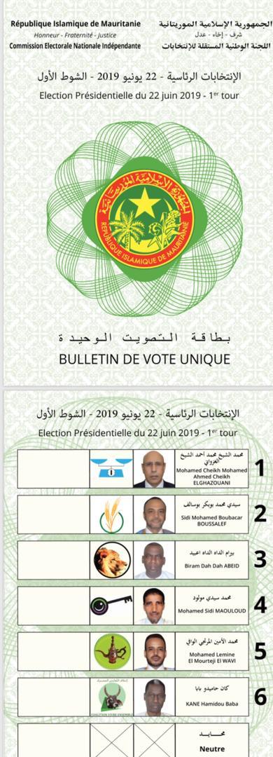 Présidentielles 2019 : photo du bulletin de vote unique