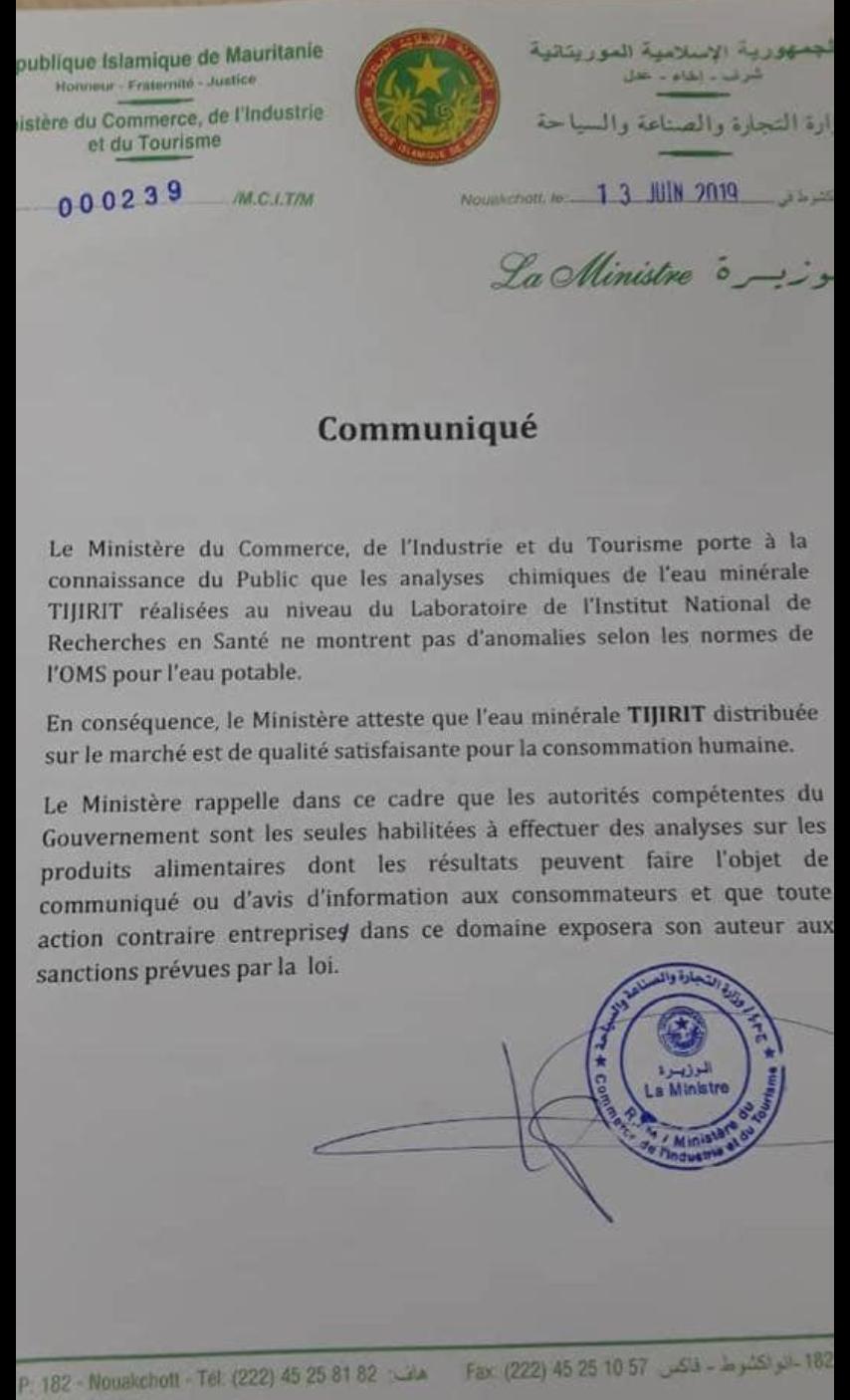 L'Eau minérale Tijirit est de qualité satisfaisante pour la consommation humaine (ministère du commerce)