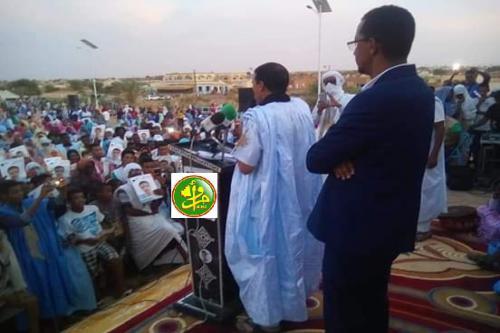 Le candidat Mohamed Ould Maouloud préside un meeting électoral dans la ville de Tidjikja