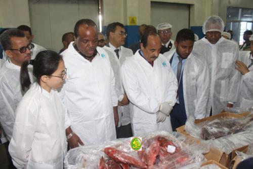 Le Président de la République et son hôte swatini visitent la société de pêche, Hong Dong à Nouadhibou