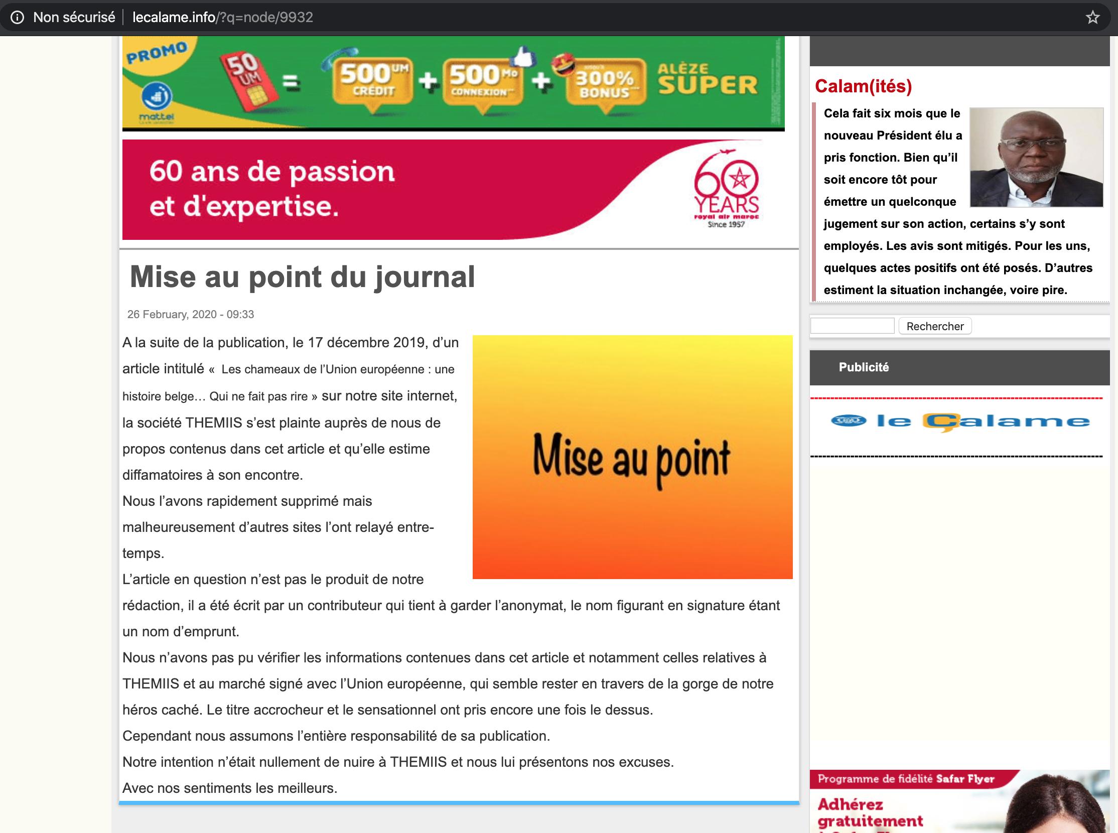 Droit de réponse de la société THEMIIS SAS à l'article intitulé « Les Chameaux de l'Union européenne : une histoire belge… qui ne fait pas rire »