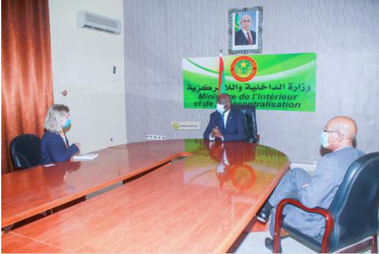 Le ministre de l'Intérieur reçoit la Représentante de l'OIM en Mauritanie