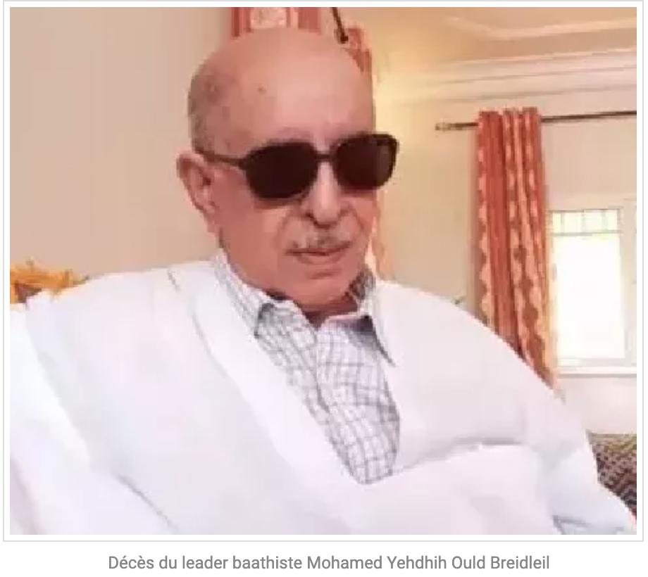 Décès du leader baathiste Mohamed Yehdhih Ould Breidleil