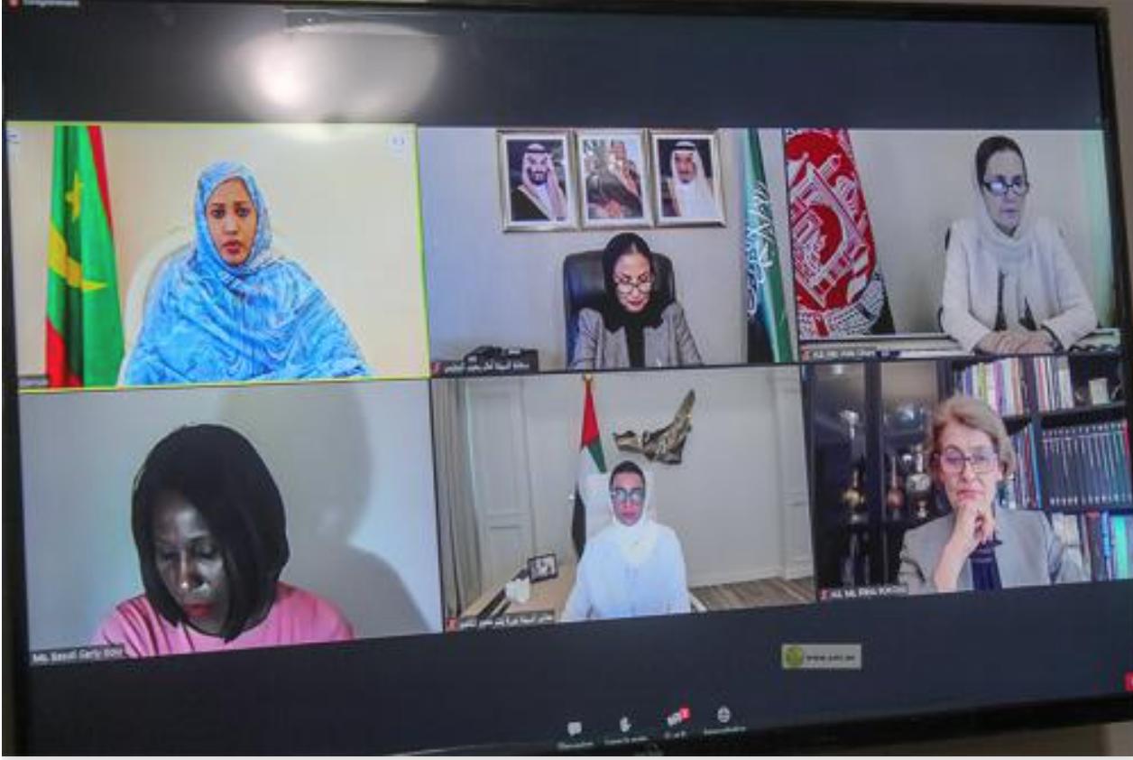 La Première Dame participe au lancement officiel virtuel de l'Année de la femme de l'ISESCO